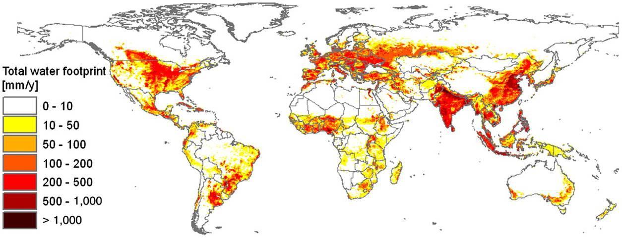 Figura : A pegada hídrica da humanidade no período de 1996-2005. Os dados são apresentados em milímetros por ano. Fonte: Hoekstra e Mekonnen (2012)