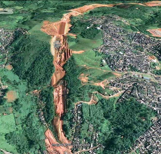 Imagem Google mostrando aspectos construtivos do trecho oeste do Rodoanel paulistano.
