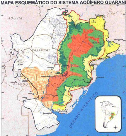 Mapa esquemático do sistema Aquífero Guarani