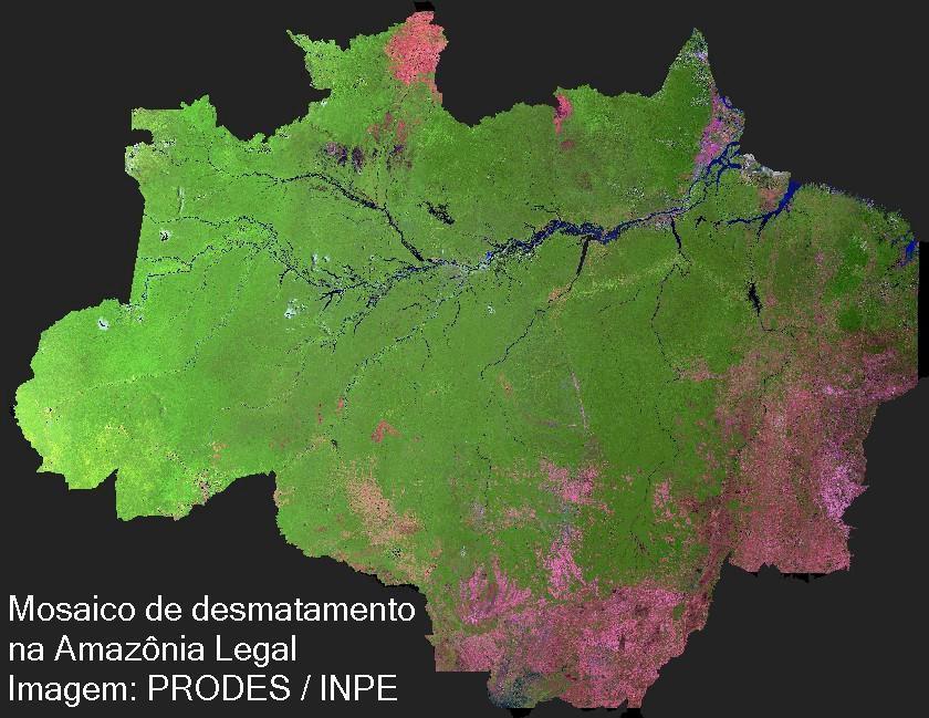 Mosaico de desmatamento na Amazônia Legal