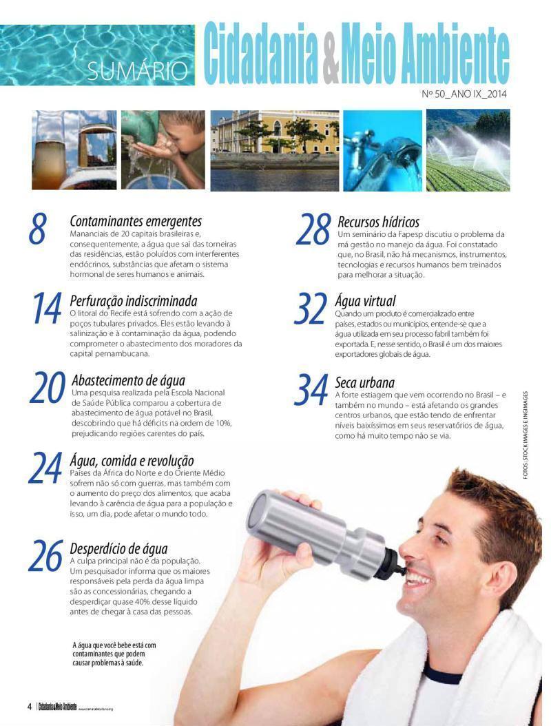 Sumário da Edição n° 50 da revista Cidadania & Meio Ambiente
