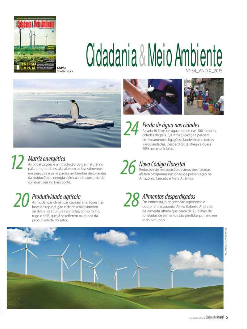 Sumário da Edição n° 54 da revista Cidadania & Meio Ambiente