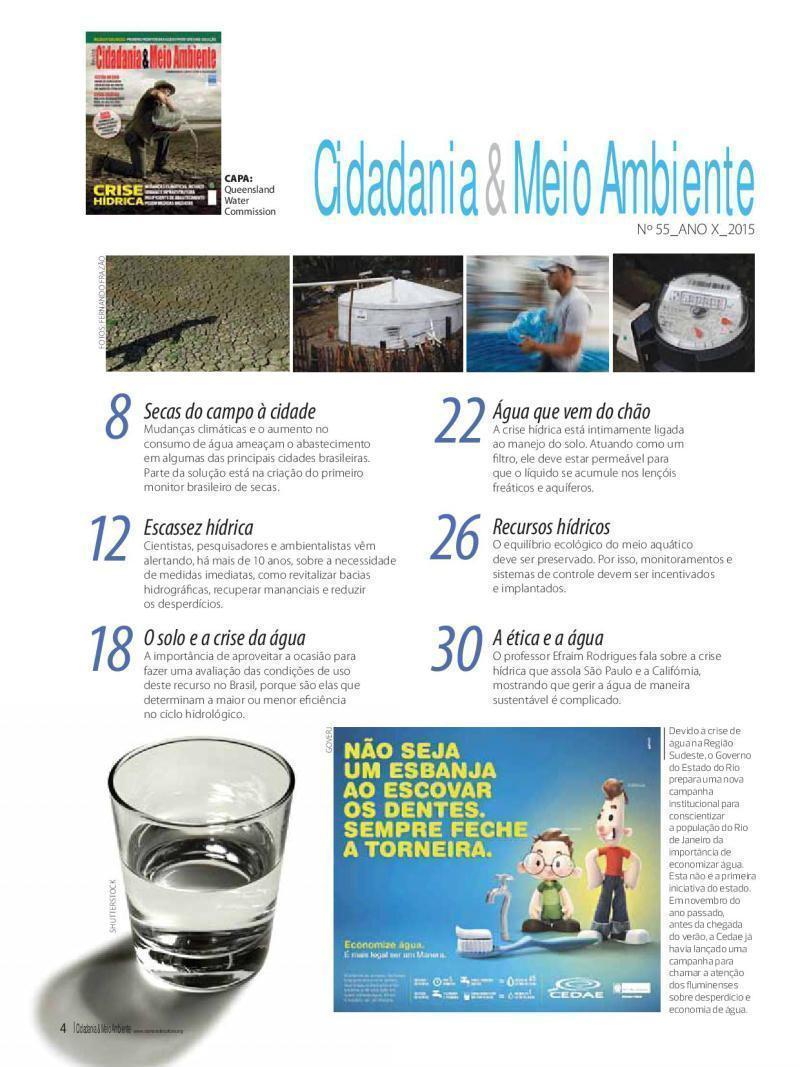 Sumário da Edição n° 55 da revista Cidadania & Meio Ambiente