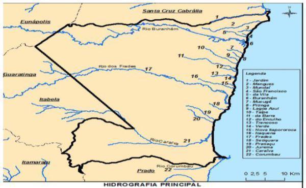 Imagem retirada do documento: Plano Municipal de Conservação e Recuperação da Mata Atlântica de Porto Seguro. Rede hidrográfica do município de Porto Seguro. Fonte: adaptado de Ribeiro et al. (2010)