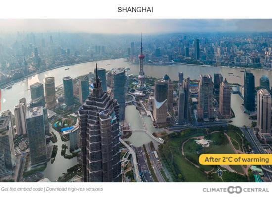 Shanghai, inundada, com um aumento de 2°C