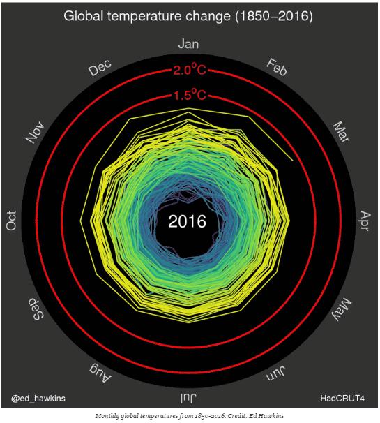 O gráfico abaixo foi apresentado na abertura da Olimpíada Rio 2016 e serviu para divulgar a gravidade do aumento da temperatura global e chamou a atenção para a luta em defesa do meio ambiente e contra o atual modelo marrom de desenvolvimento.