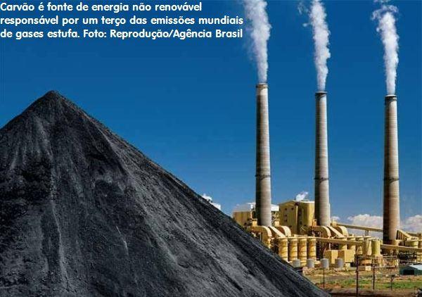 Carvão é fonte de energia não renovável responsável por um terço das emissões mundiais de gases estufa. Foto: Reprodução/Agência Brasil