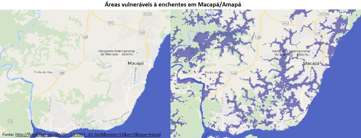 áreas vulneráveis à enchentes em Macapá