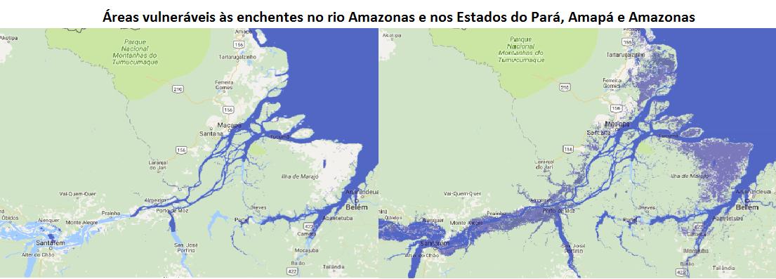 áreas vulneráveis às enchentes no rio Amazonas e nos Estados do Pará, Amapá e Amazonas