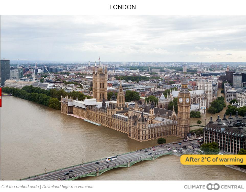 Londres, após um aquecimento global de 2ºC