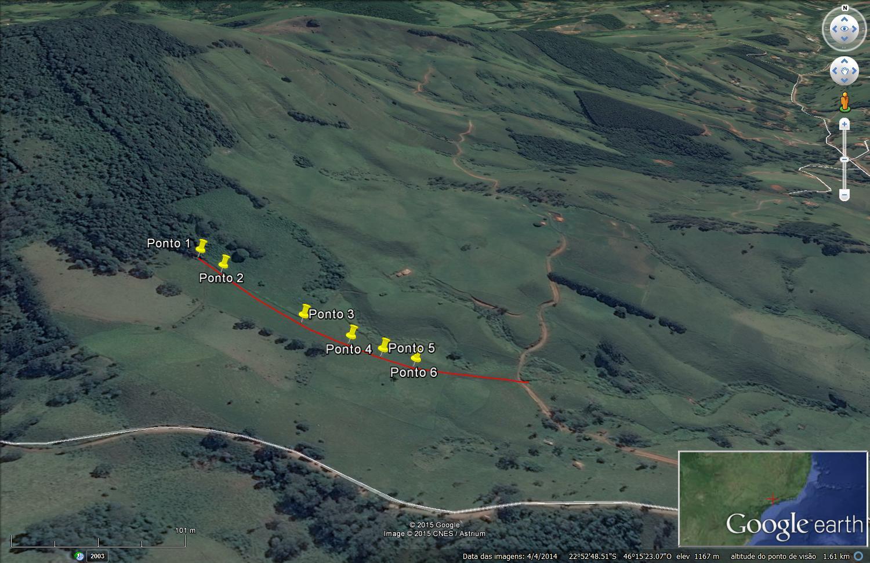 Perdas de solo e água em área de nascente estratégica para o Sistema Cantareira - Figura 1. Localização da área de trabalho com os 6 pontos/locais experimentais