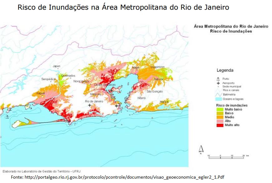 risco de inundações na área metropolitana do Rio de Janeiro