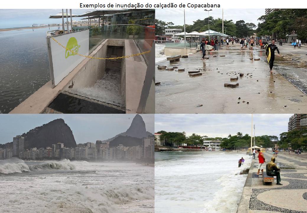 exemplos de inundação do calçadão de Copacabana