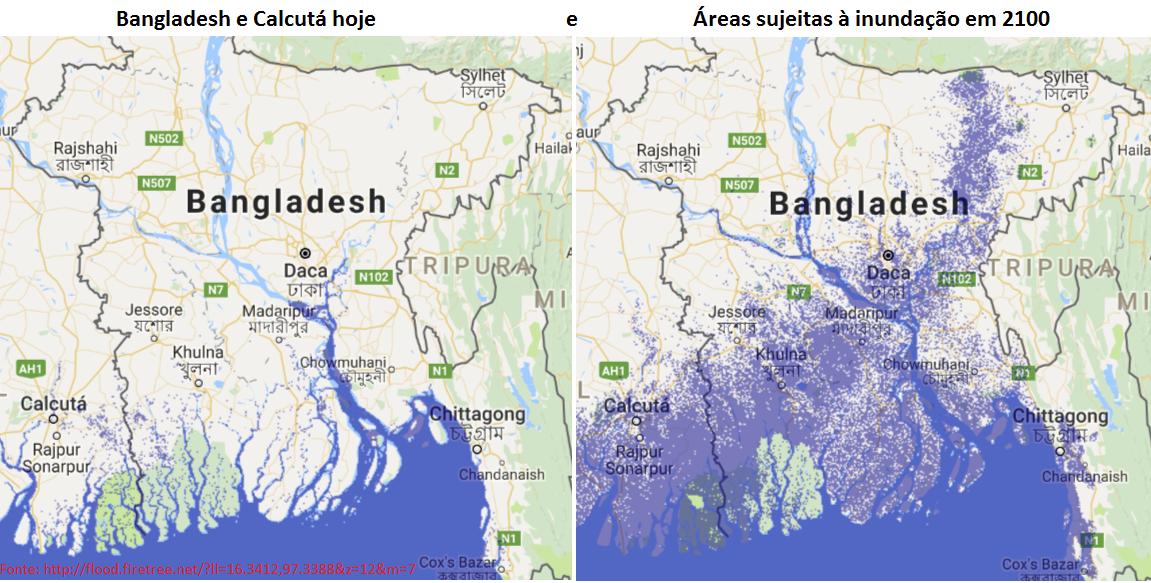 bangladesh e calcutá - áreas sujeitas à inuncação em 2100