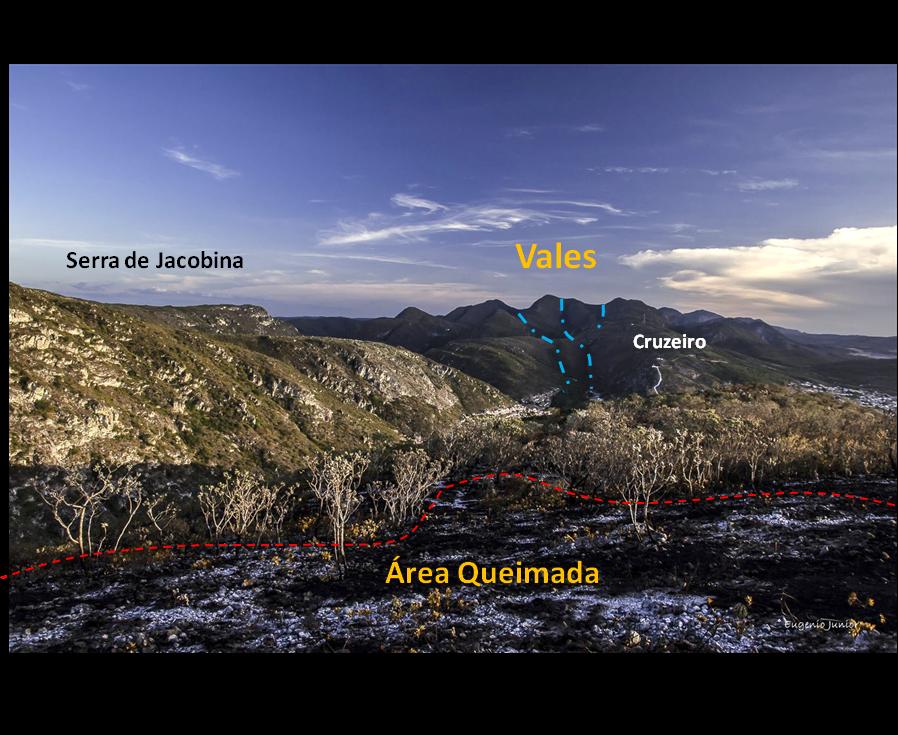 Figura 1 – Vista da Serra de Jacobina e localização dos vales - 2017. Foto: Modificado de Eugênio Junior.