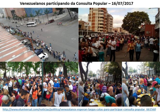 venezuelanos participando da consulta popular, 16/7/2017