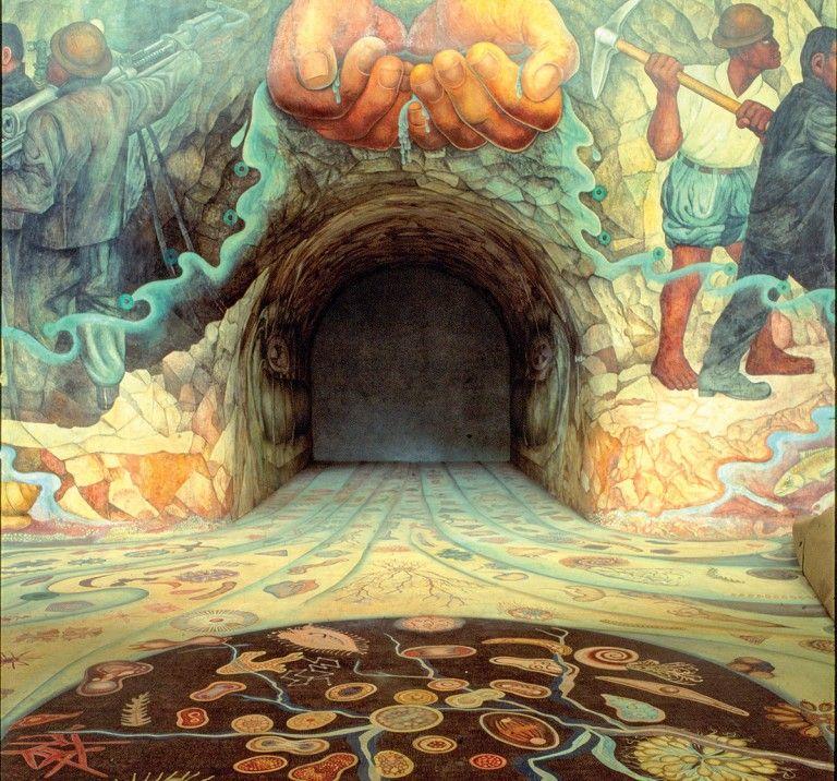 Parte do mural Água, origem da vida (Autoria de Diego Rivera)