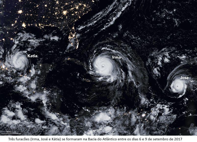 3 furacões (Irma, José e Kátia) no Atlântico