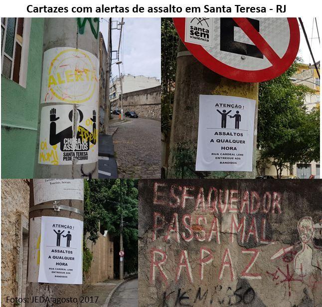 cartazes com alertas de assalto em Santa Teresa, RJ