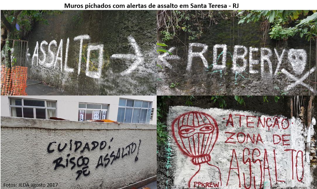 muros pichados com alertas de assalto em Santa Teresa, RJ