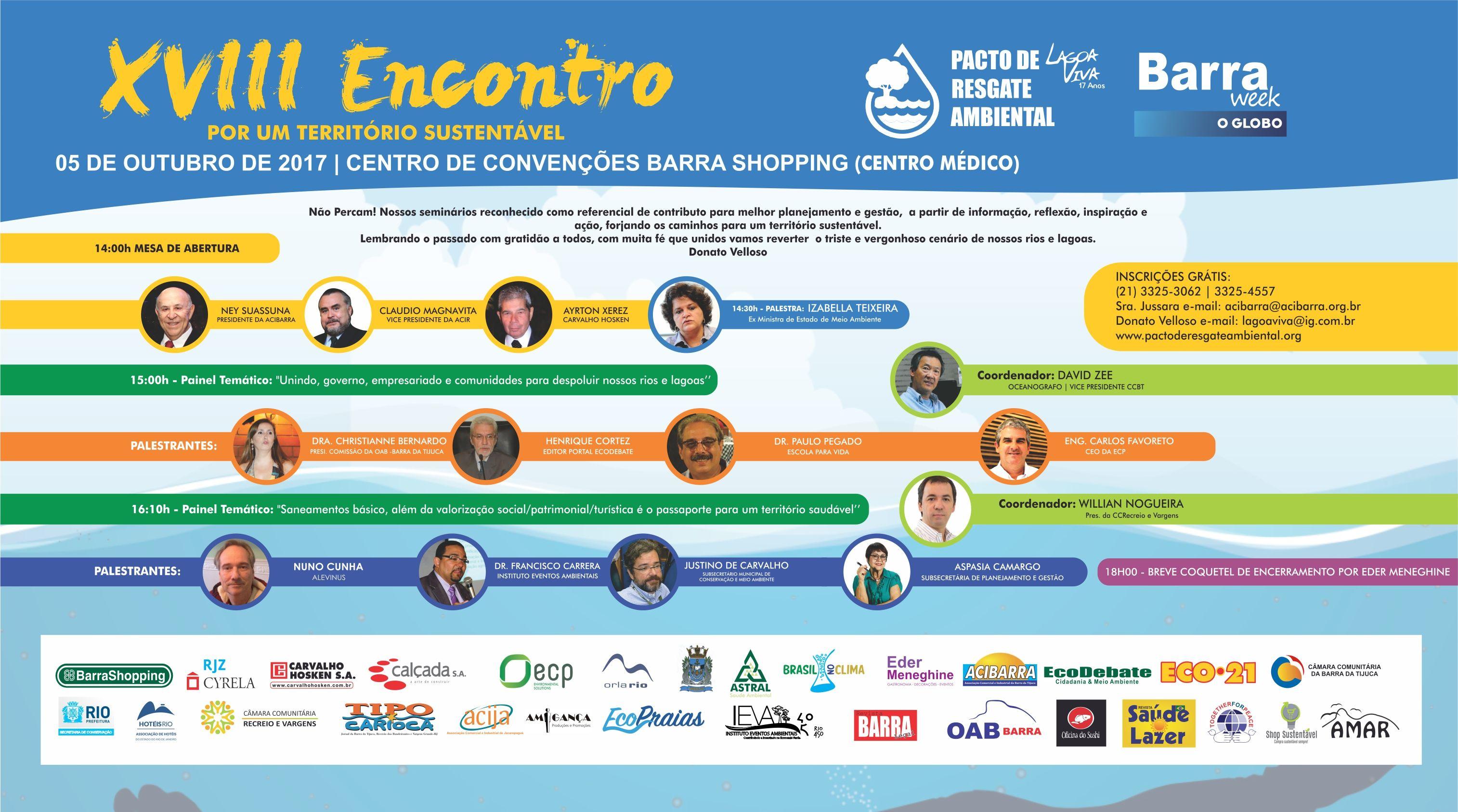 AGENDA: SEMINÁRIO PACTO DE RESGATE AMBIENTAL LOCAL, RJ, 05/10/2019