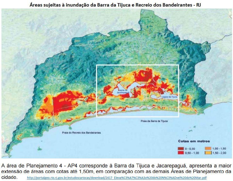 áreas sujeitas à inundação da Barra da Tijuca e Recreio dos Bandeirantes, RJ
