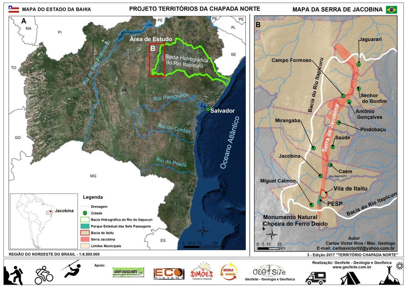 Figura 1 – A – Mapa da Bahia indicando a localização da Bacia Hidrográfica do Rio Itapicuru; B- Mapa de Localização da Serra de Jacobina e Municípios confrontantes (Rios, 2017).