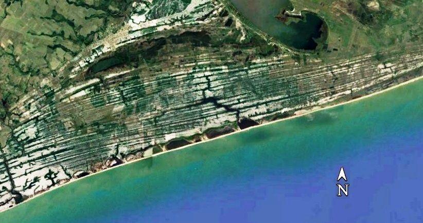 Campo de restingas no litoral do estado do Rio de Janeiro – município de Macaé. Notar a nítida diferenciação (cordões paralelos à praia) de paisagens em relação ao campo de dunas mostrado na foto anterior
