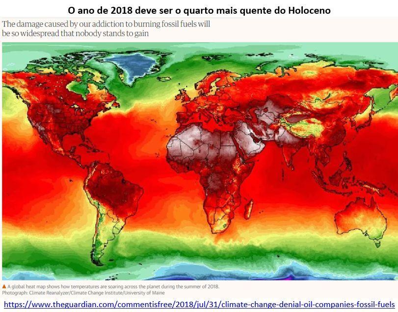 o ano de 2018 deve ser o quarto mais quente do Holoceno