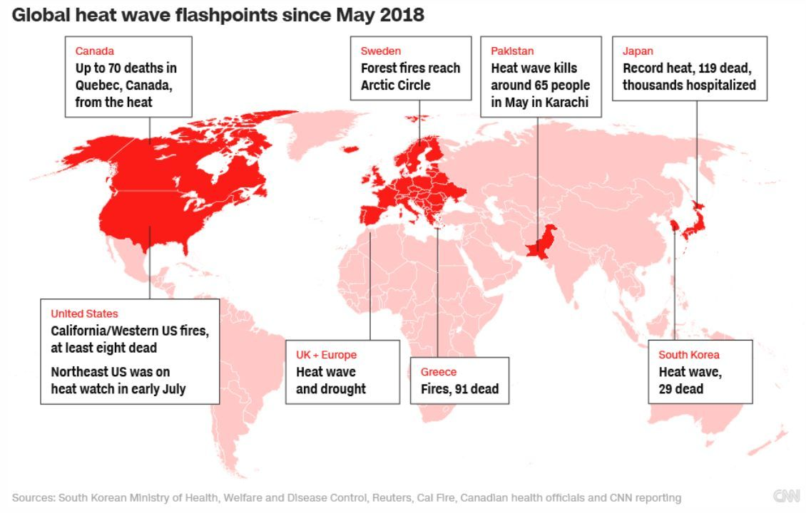 global heat wave flashpoints since may 2018