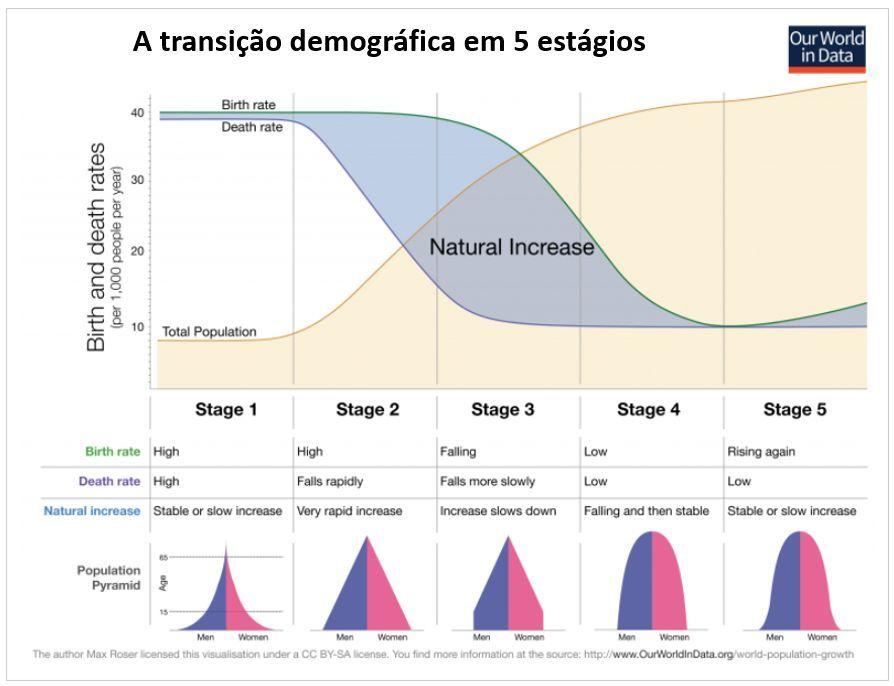 a transição demográfica em 5 estágios