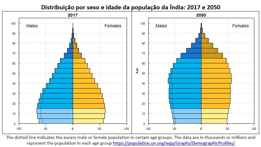distribuição por sexo e idade da população da Índia