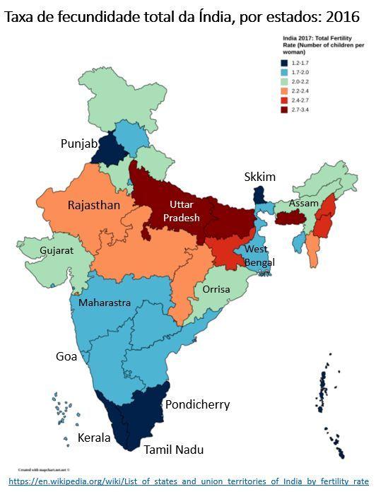 taxa de fecundidade total da Índia, por estados