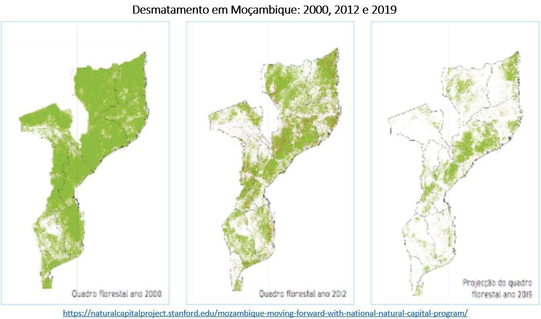 desmatamento em Moçambique de 2000 (esquerda) para 2012 (centro) e as projeções para 2019 (direita)