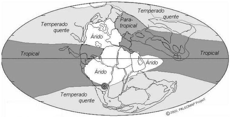 Mapa paleoclimático do Triássico Superior, obtido a partir de depósitos climaticamente sensíveis, com posição do sul do Brasil na época (círculo)