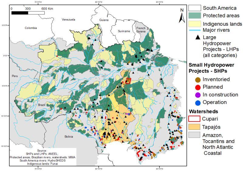 Mapa de barragens hidrelétricas (existentes, planejadas e inventariadas) nos rios da Bacia Amazônica