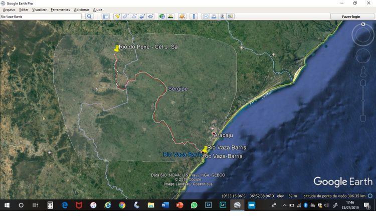 Mapa do Google com localização do Rio do Peixe e Vaza Barris até a sua foz em Sergipe.