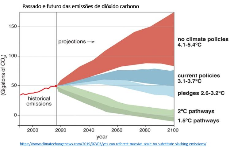 passado e futuro das emissões de dióxido de carbono