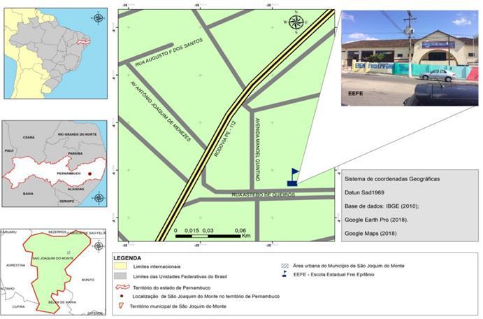 Figura 1 – Localização da Escola de Referência em Ensino Médio Frei Epifânio. Fonte: Autor principal (2018).