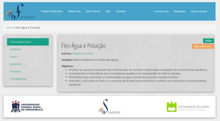 Figura 2 – Protótipo da página principal da plataforma FlexQuest desenvolvida. Fonte: Autor principal (2018)