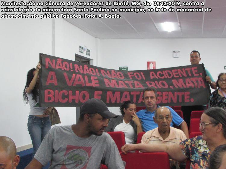 manifestação na Câmara de Vereadores de Ibirité, MG