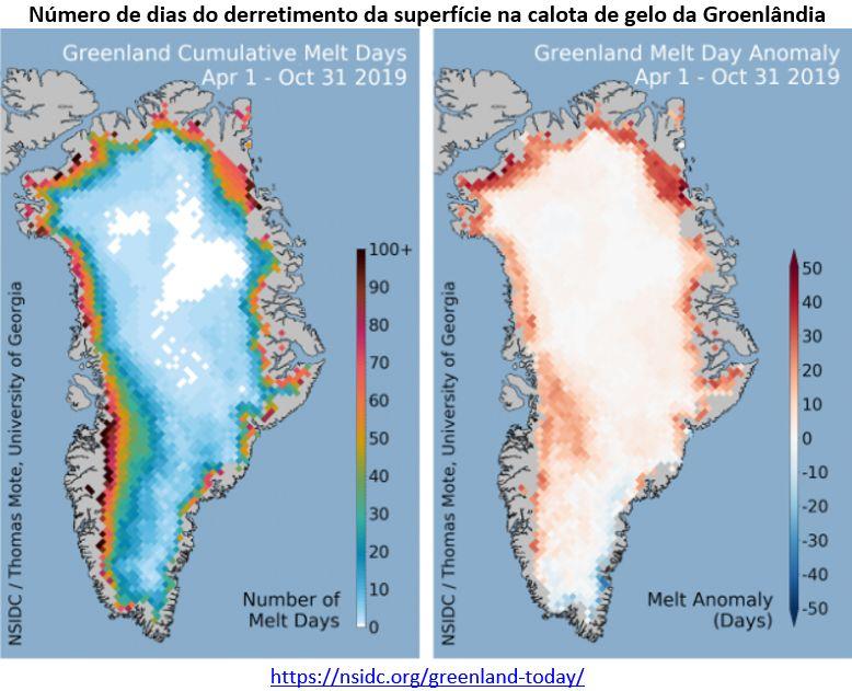 número de dias do derretimento da superfície na calota de gelo da Groenlândia