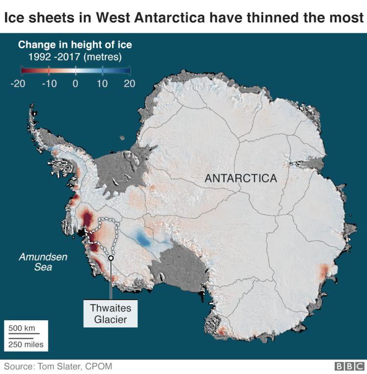 redução do manto de gelo na Antártida