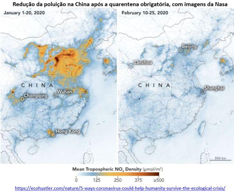 redução da poluição na China após quarentena obrigatória
