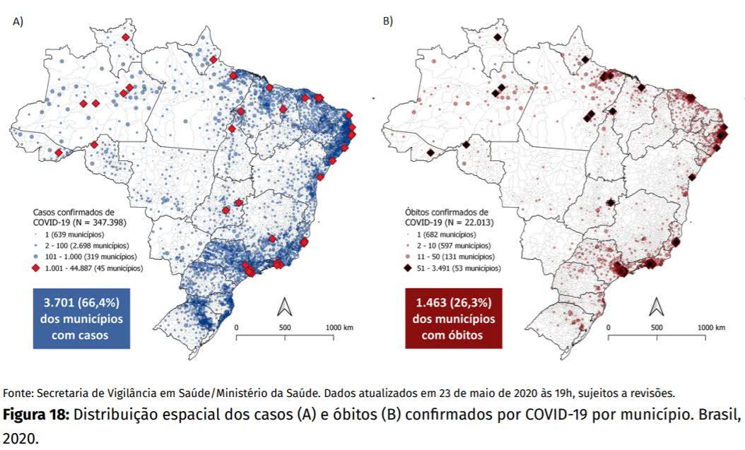 mapas mostram que existiam (até 23 de maio) 3.701 municípios com pelo menos um caso do novo coronavírus e 1.463 municípios com pelo menos 1 morte pela covid-19