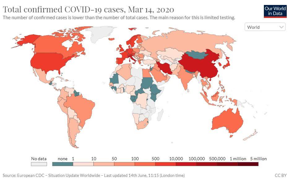 total de casos confirmados de Covid-19 no mundo