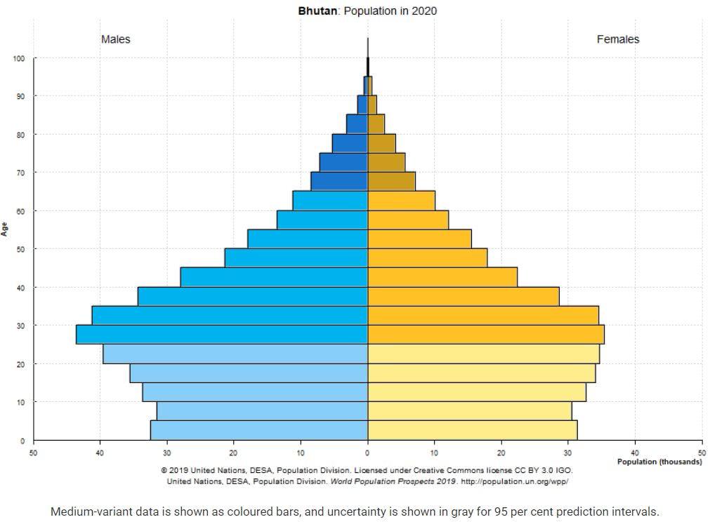 pirâmide populacional do Butão