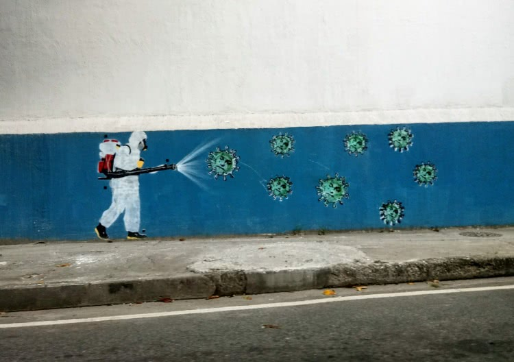 coronavírus - arte urbana no centro do rio