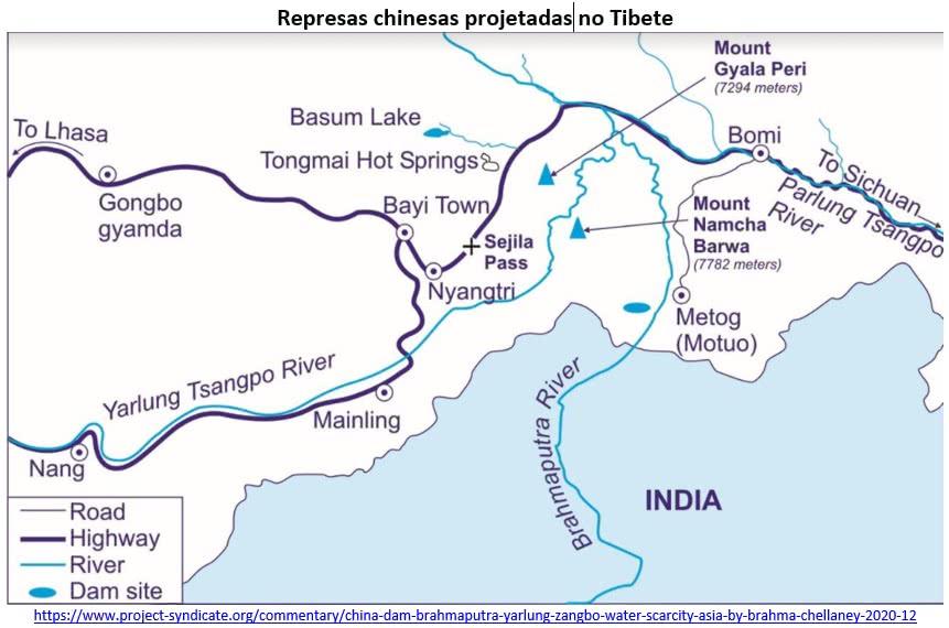 represas chinesas projetadas no tibet